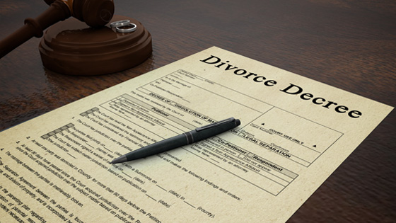 A divorce decree form.